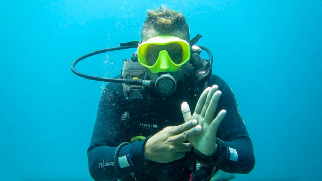 This diving hand signal is used to ask how much air you have left in your tank. You should always check your air in your tank throughout the dive
