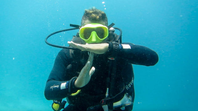 This diving hand signal is used to show that you have 100 bar left in your tank, This is made by making a T shape.