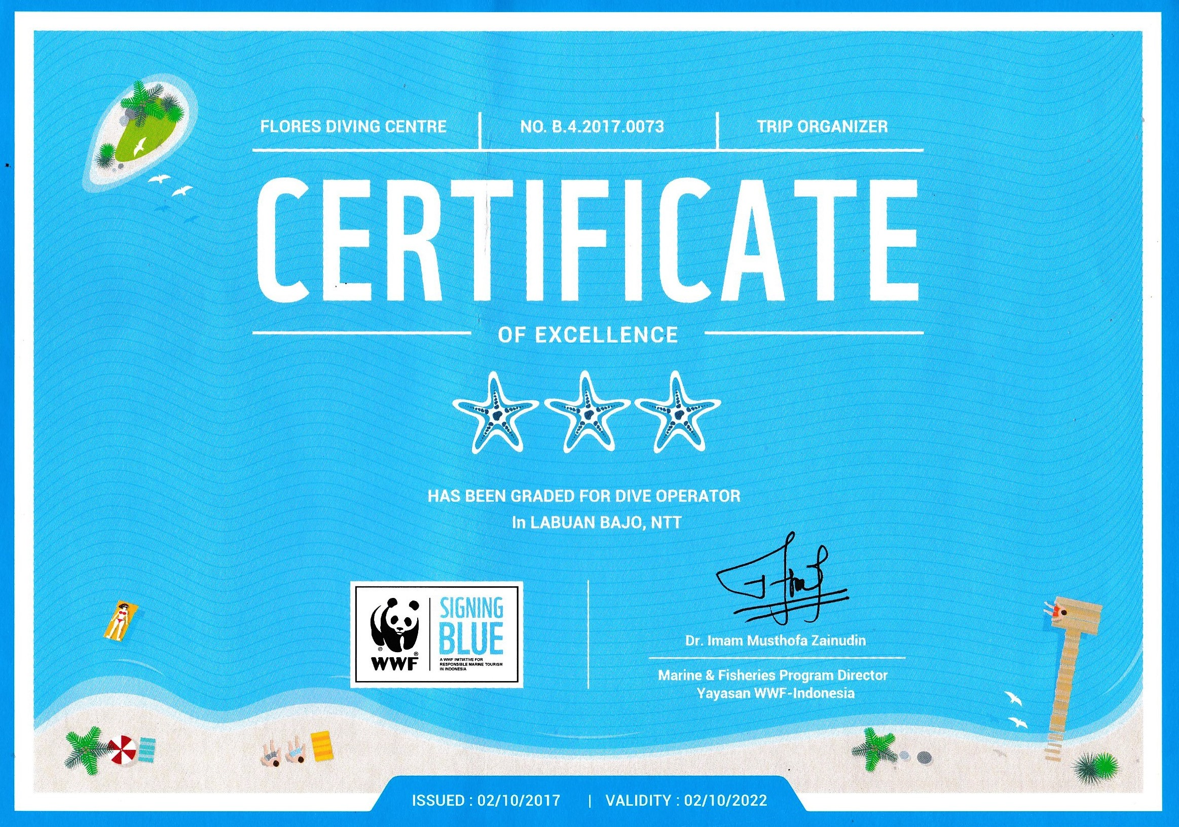 WWF Signing Blue certificate